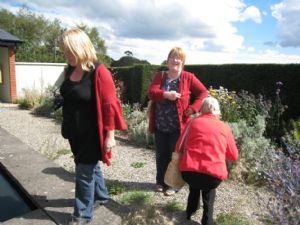Ladies in red at Bay Garden