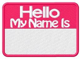 Name tag for Saturday!