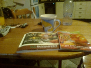 seed catalogues and a mug of hot choc