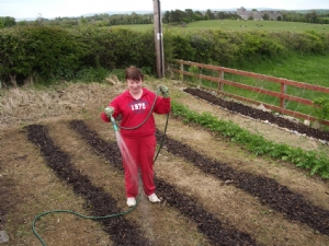 Joyce - and the vegetable patch