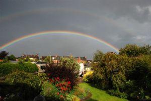 rainbow over back garden