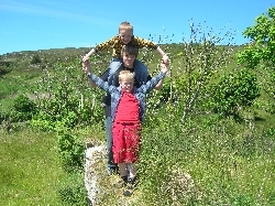 my sons playing on the ruins of their ancestral home