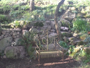 Note new rock left of P.chair!-with white rhodo on top!